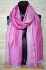 zijden sjaal reversible roze/wit
