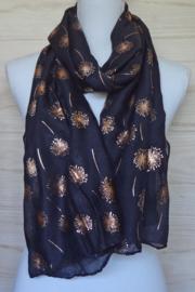 sjaal zwart met rose gouden print