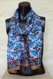 zijden sjaal wit met bladpatroon