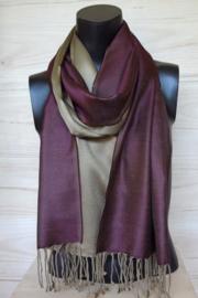 Zijden sjaal wijnrood/olijf