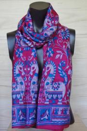 zijden sjaal roze met paardjes en bloemen