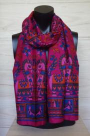 zijden sjaal met paardjes en bloemen