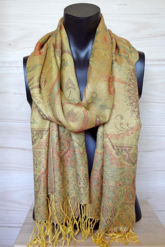 sjaal geel met ingeweven dessin