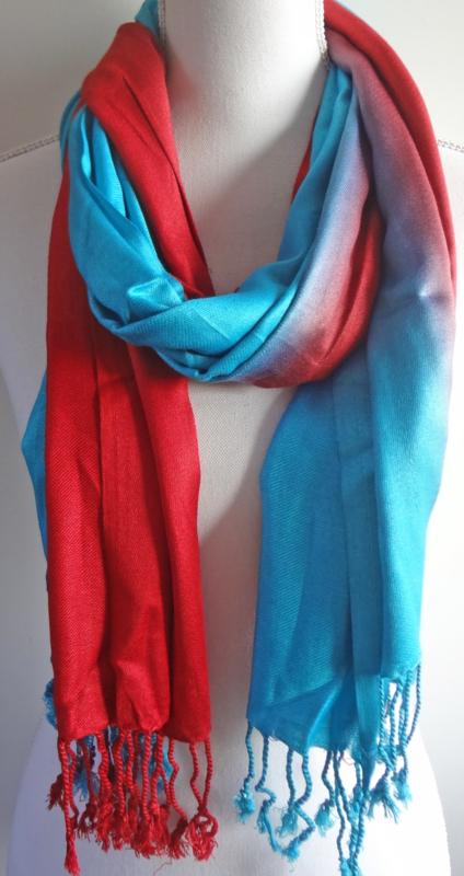 Sjaal in rood en blauw