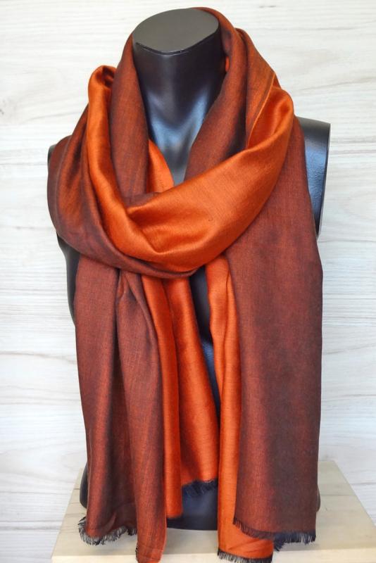 zijden sjaal reversible oranje/zwart
