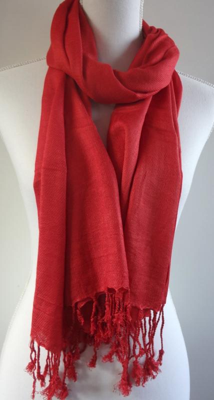 Geweven sjaal in helder rood