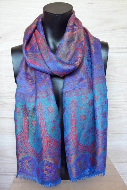 sjaal blauw met ingeweven dessin