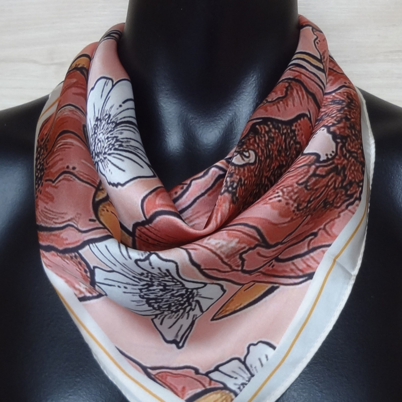 sjaaltje, bandana, rode bloemen
