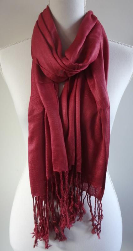 Geweven sjaal in wijnrood