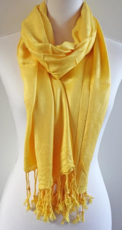 Geweven sjaal in helder geel