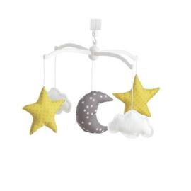 Muziekmobiel sterrenhemel grijs/oker - Pouce et Lina