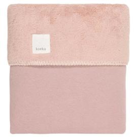 Ledikantdeken runa teddy old pink - koeka