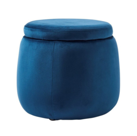 Kids concept ronde pouf velvet  blue