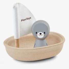 Zeilboot zeehond badspeelgoed - Plan Toys