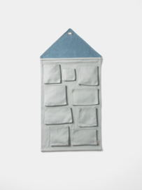 House wall storage blue