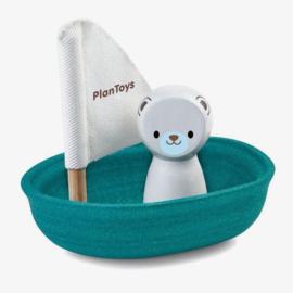 Zeilboot ijsbeer badspeelgoed - Plan Toys