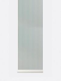 Behangpapier lines dusty blue /off white