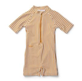Max Swim jumpsuit mustard stripes