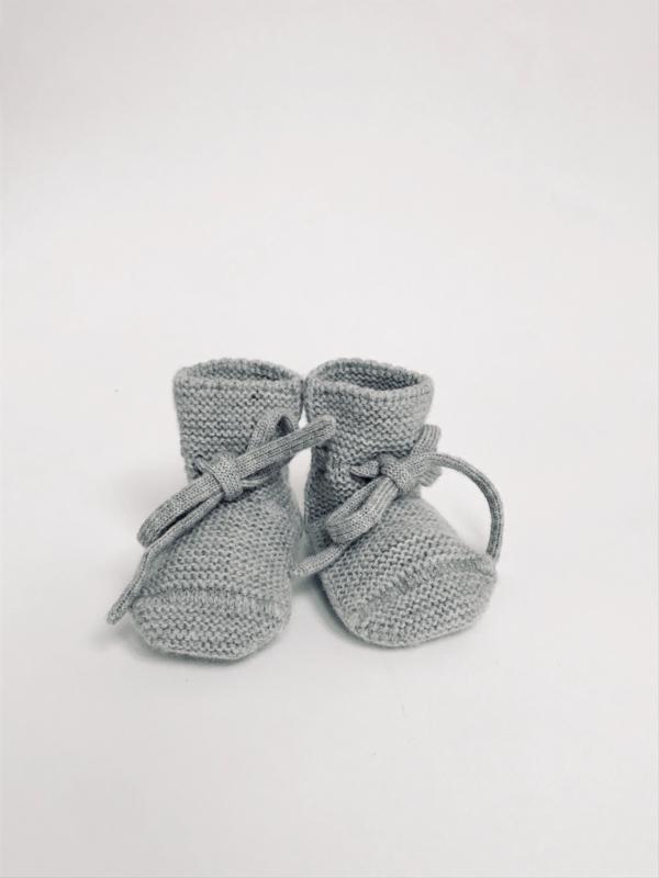 Booties grey melange - Hvid