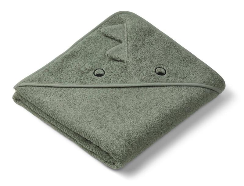 Augusta hooded towel dino green - Liewood