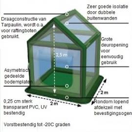 Greenyhouse opblaasbare hobbykas, H250 x B200 x D200 cm.