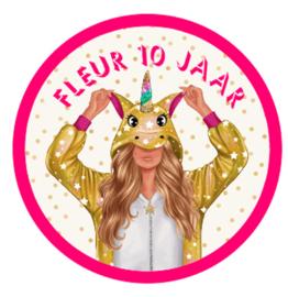 Traktatie sticker unicorn meisje