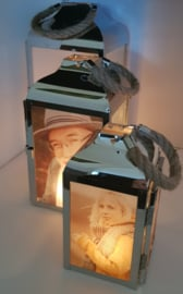 Landelijke foto lantaarn zilver groot
