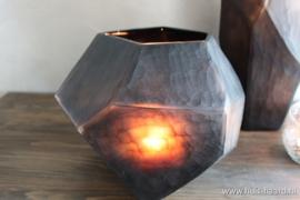 Vaas carved grijs S