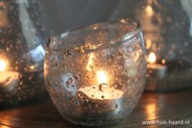 Glazen sfeerlichtje schuin bubbels
