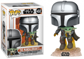 Star Wars Funko Pop - The Mandalorian Mando Flying Jet Pack With The Child (Baby Yoda) #402 [Pre-Order]