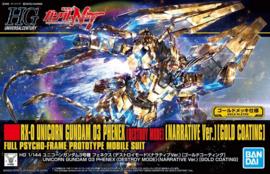 Gundam Model Kit HG 1/144 RX-0 Unicorn Gundam 03 Phenex (Destroy Mode) Narrative Ver. Gold Coating - Full Psycho-Frame Prototype Mobile Suit - Bandai [Nieuw]
