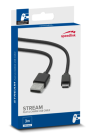 Stream Play&Charge Micro USB Kabel voor PS4 (Zwart) - Speedlink