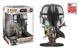 "Star Wars The Mandalorian Funko Pop Jumbo Mandalorian With Child 10"" Super Sized #380 [Nieuw]"