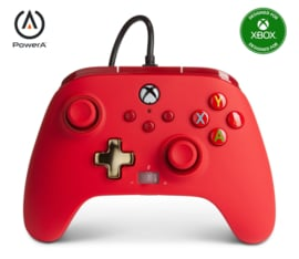 Xbox Controller Wired - Red (Series X & S - Xbox One) - Power A [Nieuw]