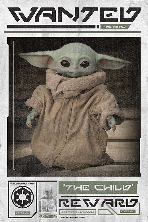 Star Wars Poster The Mandalorian Wanted: The Child (Baby Yoda) (61x91cm) - Pyramid International