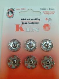 Drukknopen 13 mm zilver