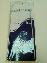 Breinaalden met draad 80 cm 2,5 mm