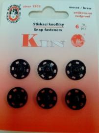 Drukknopen 13 mm zwart