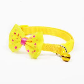 Puppy halsband strik - Nekomvang 22-32 cm -  GEEL - In Voorraad