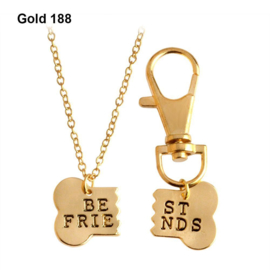 Halsketting & sleutelhanger Best Friend Gold