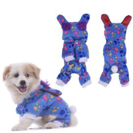 Hondenpak Fleece Paw Blauw - Medium - Ruglengte 30 cm - In Voorraad