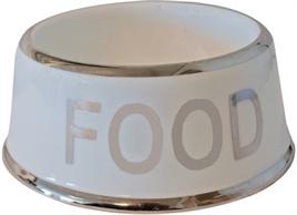 VOERBAK HOND FOOD WIT/ZILVER 18 CM