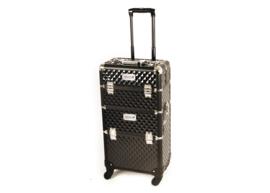 Trimkoffer  XL 2 in 1 met 4 wielen -Telescopisch Handvat Zwart - Gratis Verzending