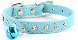 Halsband Rhinestone Puppy bel Blauw - Maat XS
