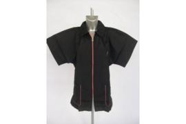 Trimshirt, model Unisex, kleur zwart met zalmkleur rits XL