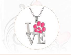 Halsketting met hanger hondenpootje roze - IN VOORRAAD
