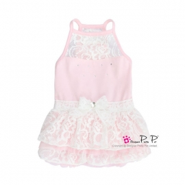 Pretty Pet Lace Dress (Pink) XS