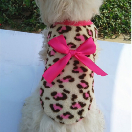 Honden Fleece Trui Roze Leopard M