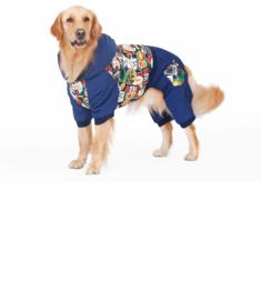 Hondenjumpsuit Grote hond Blauw Crazy - 5XL - Ruglengte 57 cm - IN VOORRAAD