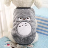 Puppy trui Fleece Cartoon Grijs - Ruglengte 15 cm - Maat XXS - In Voorraad